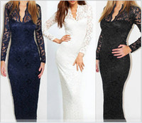 Wholesale Scallop Neck - Fashion Ladies' Sexy V-Neck Slim Scallop Neck Lace Women Maxi Dress Long Sleeve