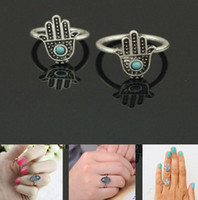 Wholesale China Wholesale Evil Eye - 2014 Women New Come Retro Silver Hand Of Fatima Hamsa With Evil Eye For Protection Rings Ring [JR14236*12]