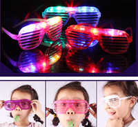 Wholesale Christmas Sunglasses Lights - Fashion Shutters Shape Flashing LED Glasses Flash Sunglasses Christmas Night Light Dances Party Supplies Decoration Kids Gifts LED light