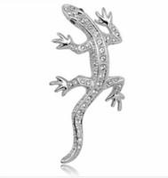 jóia do lagarto venda por atacado-Prata Banhado Limpar Strass Diamante Crystal Lizard Pins Broche de Presente Da Jóia