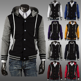 куртки с длинными рукавами Скидка Wholesale-Men's Women's 2015 New Korean Designer Fashion College Varsity Letterman Hooded Hoodies Fleece Baseball Jacket Sweatshirt