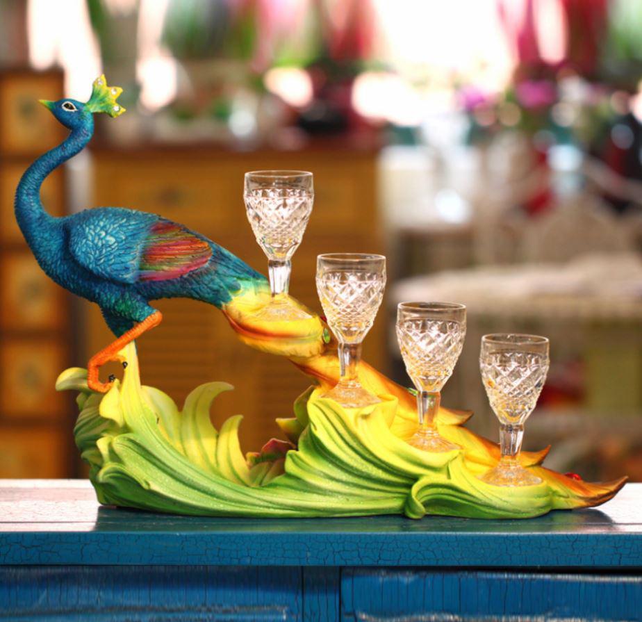 Wine Holder Sri Lanka Realista Azul Pavo Real Wine Rack Organizer Gifts Artesanía Decoración Del Hogar con cuatro Gafas