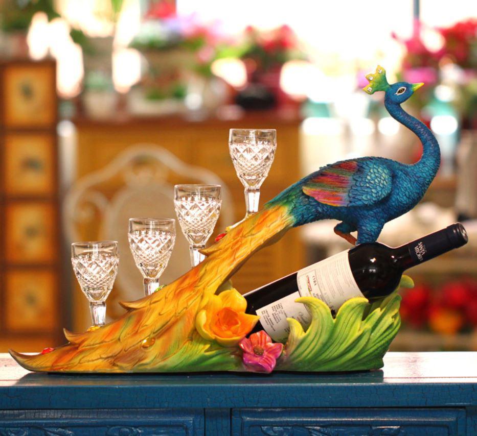 Porte-Vin Sri Lanka Réaliste Bleu Paon Casier À Vin Organisateur Cadeaux Artisanat Décoration de La Maison avec quatre Verres