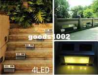 Wholesale Stainless Steel Fence Wholesale - 4LED White solar Stairways light stainless Steel Stair Lamp Landscape Garden Path Wall Light Lamp outdoor lighting Fence light