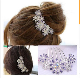 Wholesale Rhinestone Hair Pins Comb - New Fashion Full Colors Crystal Rhinestone Petal Tuck Comb Women Flower Hair Pin Hair Clip Headwear Accessories