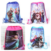 Wholesale Silk Kids Bag - new fashion movie Frozen Anna Elsa Kristoff Olaf Prince Hans non-woven string backpack for kids children's gift school bag