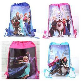 Wholesale String For Kids - new fashion movie Frozen Anna Elsa Kristoff Olaf Prince Hans non-woven string backpack for kids children's gift school bag
