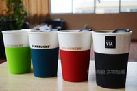 Wholesale Starbucks Milk Cup - Wholesale-New style Zakka Starbucks Via Ceramic Coffee Mugs And Cups Milk Tea Travel Cup 3 Mug Lot Creative Drinkware Gift Free Shipping