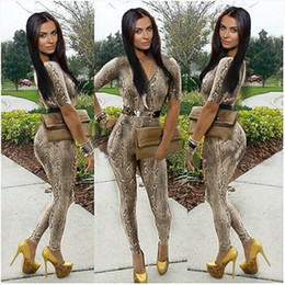Wholesale Sexy Elastic Jumpsuits - 2014 New Snake Full Tube Top Bodycon Jumpsuit Sexy Leopard Print Female Jumpsuit Trousers V neck Elastic Slim Jumpsuit 5872