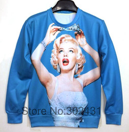 Wholesale Plus Size Galaxy Sweater - Wholesale-2014 New fashion women men Sexy Monroe print pullovers 3D Sweatshirts Hoodies space pullovers Galaxy sweaters top plus size