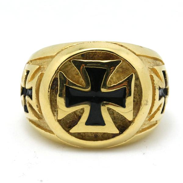 Very Cool 18K Gold Cross Biker Ring Mens 316L Stainless Steel Cool
