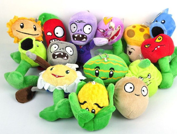 """New 5"""" Plants VS Zombies Soft Plush Toy With Sucker A full 1 set 14 pcs"""