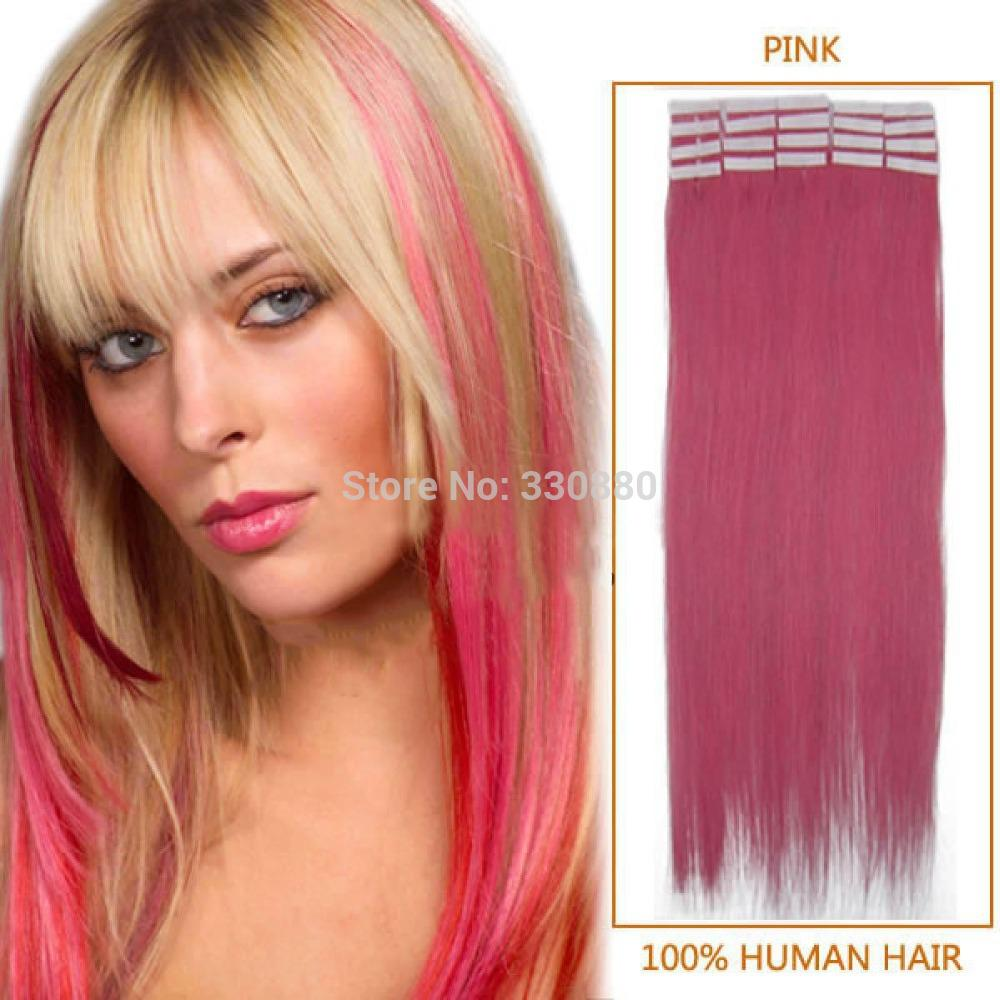 Pink Tape Hair Extensions Human Indian Remy Adhesive Glue In 100