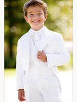 Wholesale Silver Kids Tuxedo - 2017 Hot sale White kid suits Custom Made Boy Wedding Suit Boy's Attire Groom Tuxedos (Jacket+Pants+bow+Vest)