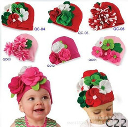 Wholesale Design Headgear - Free shipping 5pcs lot 6 designs 2014 New Arrival Baby Girls flower cotton hat infant lovely cap kids Christmas gift headgear