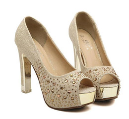 Wholesale Sexy Diamonds Shoe Gold - Glitter silver wedding shoes gold diamond rhinestone sexy high heels princess prom ball shoes size 34 to 39 YL