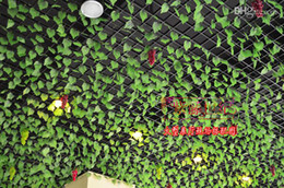 Green Ivy Artificial Plants Canada - 2.4M long Artificial grape large leafs Wall Hanging Green plants green leafs ivy rattan for Home Decor Bar Restaurant Decorations