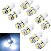 Wholesale 158 Led - 10pcs T10 Wedge 5-SMD 5050 Xenon LED Light bulbs 192 168 194 W5W 2825 158 White Free shipping & wholesale