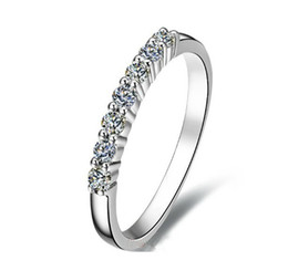 Wholesale Sapphire Rings China - Size 5 6 7 8 9 Hi-Q Women's 10kt White Gold Filled White Sapphire Wedding Ring