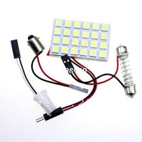 Wholesale Car Interior Led White - Free shipping 5pcs 24 SMD 5050 LED Car Panel Light Interior Room Dome Door White Bulb Adapter DC 12V Lamp