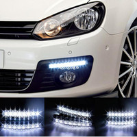 Wholesale Drl Lights Audi - Free shipping New 2PCS Universal Car Light Super White 8 LED Daytime Running Light Auto Lamp DRL #8110