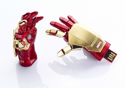 Wholesale model usb - AVENGERS LED IRON MAN 3 Hand Model USB 2.0 64gb 128gb 256gbUSB 2.0 flash Memory Pen Drive Stick DHL Retail Blister Packaging