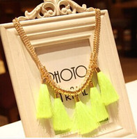 Wholesale Neon Cotton Rope - wholesale fashion women Handmade weave knitted neon cotton rope tassel metal necklace fluorescence color