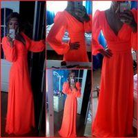 Wholesale Sleeved Chiffon Prom Dresses - sexy new dress vestidos de novia de soiree red long-sleeved chiffon prom dress long sleeve party dress