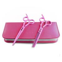 cabeleireiros tesouras venda por atacado-Salão de cabeleireiro profissional rosa 6 '' tesoura de cabelo conjunto tesoura de desbaste