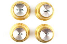 Toptan satış LP SG Stil Elektro Gitar Ücretsiz Kargo toptan için 4 adet Altın Gümüş Reflektör Ses Tonu Elektro Gitar Knobs 1 Set