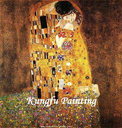 gustav klimt paintings NZ - 100% Hand painted Gustav Klimt Kiss Canvas Oil Wall Art Famous Artist Painting Reproduction Wall Hanging Picture for Home Decor