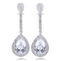 Wholesale big trendy earrings - White gold plate Big long drop Earings Women Trendy Big Tear Drop Earrings Top Grade Aaa CZ Earrings
