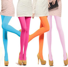Wholesale Tights Shipping Europe - Europe Fashion Womens Velvet Pantyhose Stockings Candy Color Leggings Tights Slim Sexy Pantyhoses Drop Shipping