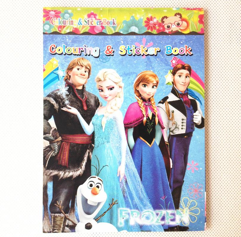 Hot Sale Small Frozen Cartoon Coloring Book Drawing With Stickers Children Gift 12piece Lot In Stock