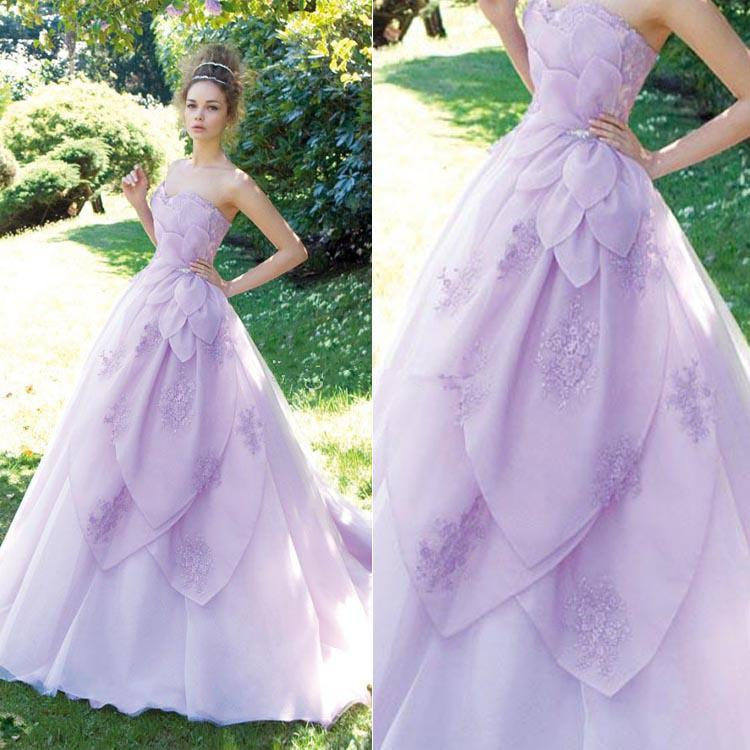 New Unique Style A-Line Purple Wedding Dresses Sweetheart Lace Organza Sweep Train Tie up Back Luxury Bridal Gowns Custom Made W237