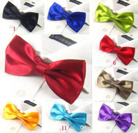 Wholesale Solid Color Brown Bow Ties - Mens Bow Ties Pre-tied Adjustable Solid Color Imitation Silk Bowtie Bow Tie Fashion Accessories Free Shipping MOQ : 5 pcs