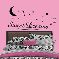 Barato Citar Adesivos De Parede Doces Sonhos-Quote Art Vinyl Wall Stickers Decal Sweet Dreams Moon Stars Kids Baby Home Decor