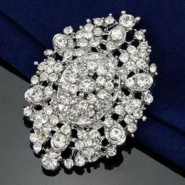 Wholesale Elegant Stunning Dress - Vintage Silver Rhodium Tone Stunning Austrian Crystals Flower Brooch Elegant Detailed Wedding Bridal Dress Pin Free Shipping
