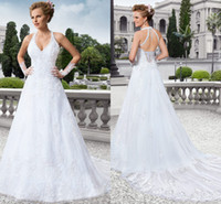 Wholesale Embroidered Halter Wedding Dress - Sexy halter Wedding Dresses A line Floor length Sweep Train Appliques Off the shoulder Sleeveless Embroidered lace on Net