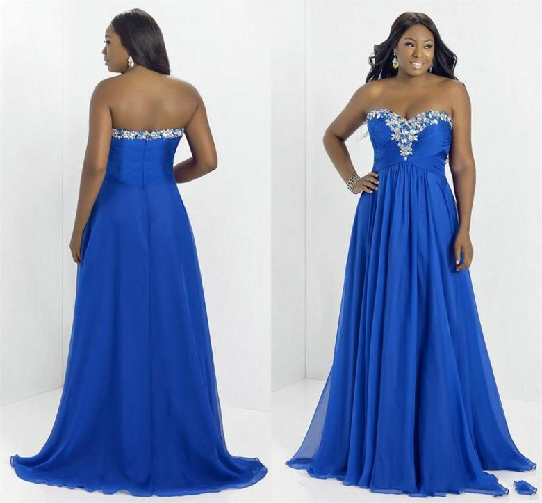 2015 Plus Size Blue Fashion Porm Dresses Sweetheart With Crystal ...