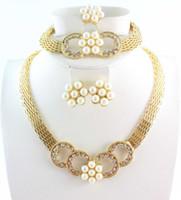 pulsera de anillo único al por mayor-Flor estética romántica Collar de perlas Pulsera Anillo de pendiente Diseño único Rhinestone Wedding Party Jewelry Sets Envío gratis