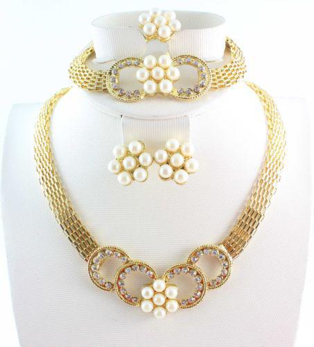 Estetica romantica del fiore collana di perle anello dell'orecchino di disegno unico strass festa di nozze gioielli fissa il trasporto libero