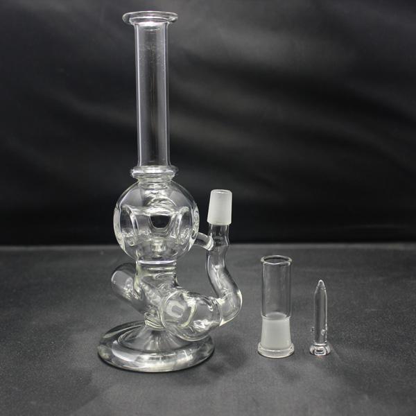 Bong in vetro con in linea Perc Hollow Orb Style Diffusore concentrato Bubbler Mini oil rig fornito con cupola e chiodo 14.5mm giunto maschio