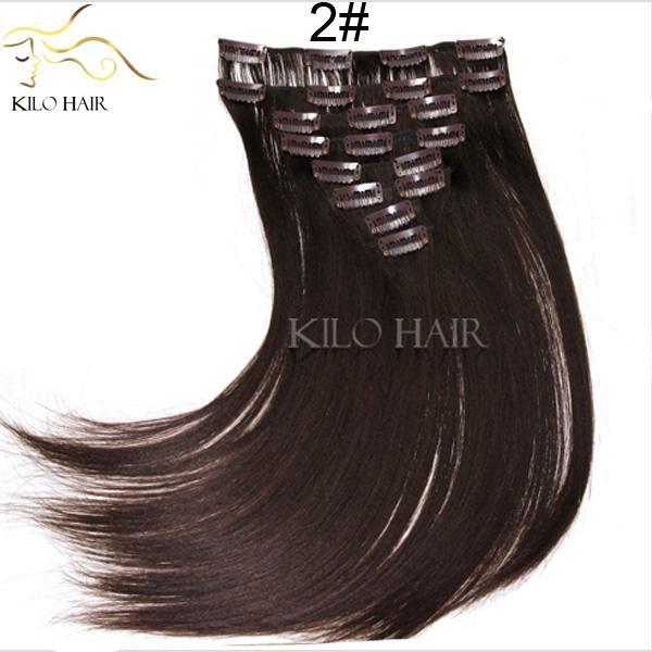 Barato clip marrón extensiones de cabello de seda recta tramas de cabello humano peruano brasileño 8 unids / set clip en el pelo teje 12 pulgadas a 24 pulgadas