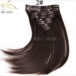 $enCountryForm.capitalKeyWord NZ - Cheap brown clip hair extensions silk straight Indian peruvian human hair wefts Brazilian 8pcs set clip in hair weaves 12inch to 24inch