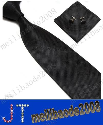 top popular free shipping Men's Tie Cuff Links Handkerchief Set 100% SILK New Christmas Gift MYY2688A 2021