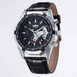006faa69001 Vencedor do relógio esqueleto mecânico automático auto-vento com homens  calendário de Luxo cinta de couro cheia de aço inoxidável relógios de pulso  caso de ...