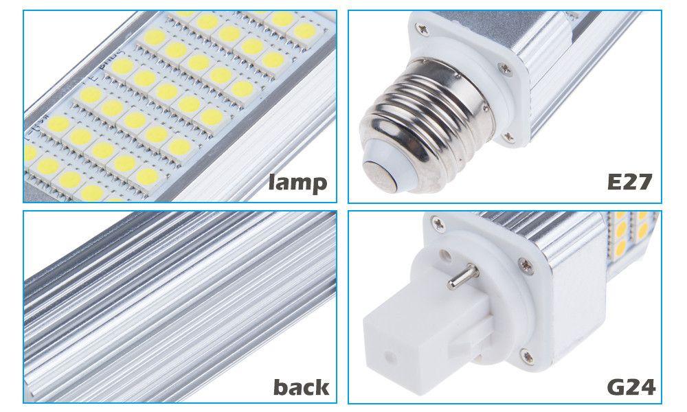 X100 Enchufe horizontal luces led bombilla de maíz E27 G24 G23 SMD 5050 180 grados AC 85-265V 6W 7W 9W 10W 12W 14W 15W 60 LED de iluminación led de DHL