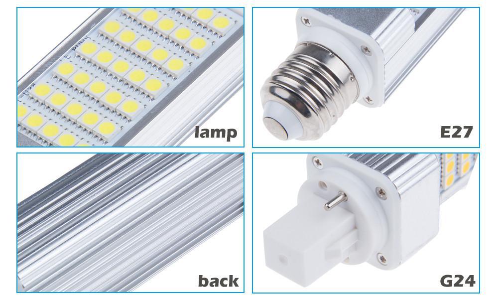 X200 Enchufe horizontal luces led bombilla de maíz E27 G24 G23 SMD 5050 180 grados AC 85-265V 6W 7W 9W 10W 12W 14W 15W 60 LED de DHL