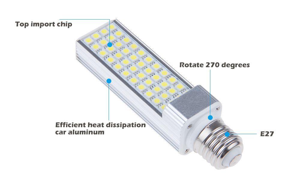 X200 poziome światła wtykowe LED żarówka kukurydziana E27 G24 G23 SMD 5050 180 degeree AC 85-265V 6W 7W 9W 10W 12W 14W 60 LED przez DHL